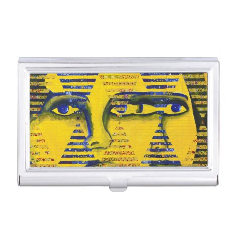 Conundrum II, Golden Sapphire Goddess Abstract Case For Business Cards