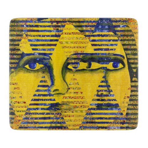 Conundrum II, Golden Sapphire Goddess Abstract Cutting Board