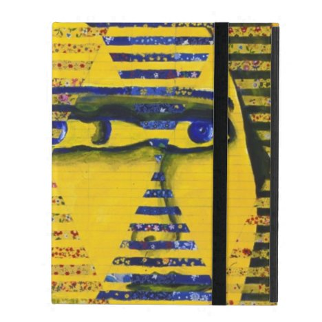 Conundrum II, Golden Sapphire Goddess Abstract iPad Folio Case