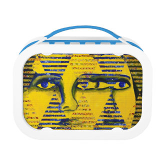 Conundrum II, Golden Sapphire Goddess Abstract Yubo Lunch Boxes