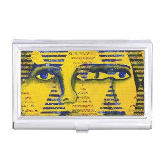 Conundrum II, Golden Sapphire Goddess Abstract Business Card Holders