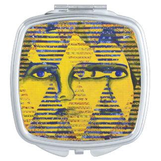 Conundrum II, Golden Sapphire Goddess Abstract Makeup Mirror