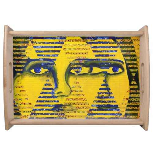 Conundrum II, Golden Sapphire Goddess Abstract Serving Tray