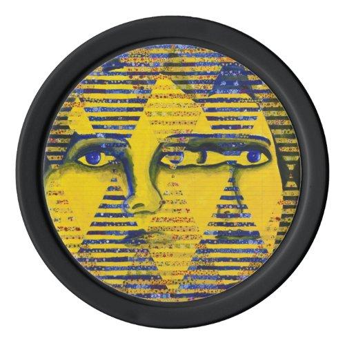 Conundrum II, Golden Sapphire Goddess Abstract Set Of Poker Chips