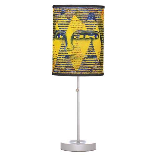 Conundrum II, Golden Sapphire Goddess Abstract Table Lamp