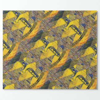 Conundrum II, Golden Sapphire Goddess Abstract Wrapping Paper