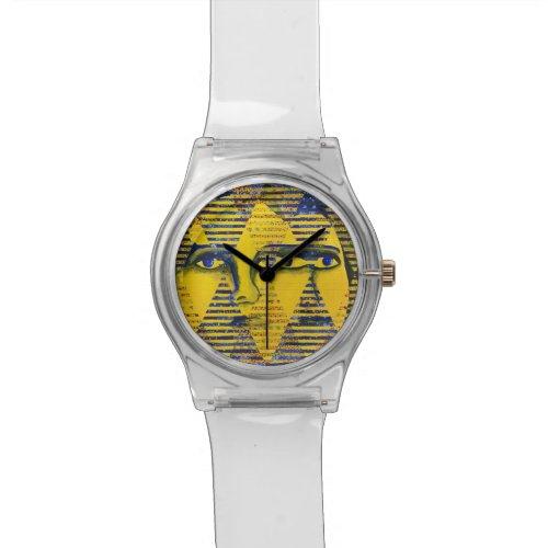 Conundrum II, Golden Sapphire Goddess Abstract Wristwatch