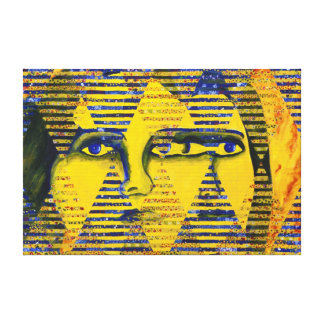 Conundrum II – Golden & Sapphire Goddess Stretched Canvas Prints