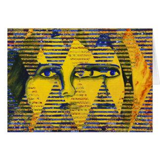 Conundrum II – Golden & Sapphire Goddess Greeting Card