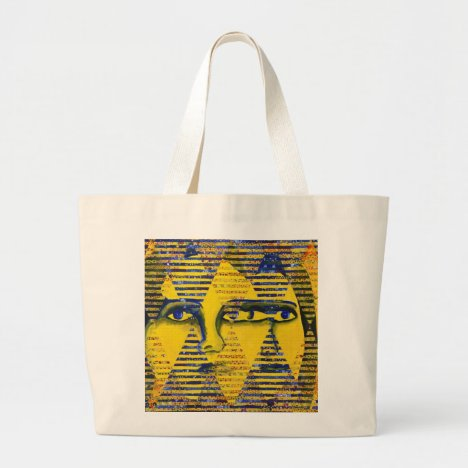 Conundrum II – Golden & Sapphire Goddess Large Tote Bag