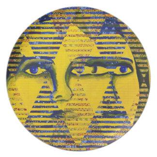 Conundrum II – Golden & Sapphire Goddess Melamine Plate