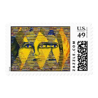 Conundrum II – Golden & Sapphire Goddess Postage Stamps