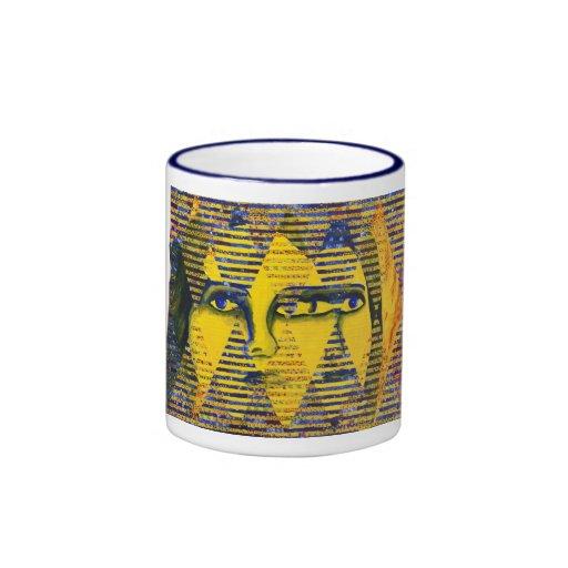 Conundrum II – Golden & Sapphire Goddess Ringer Coffee Mug