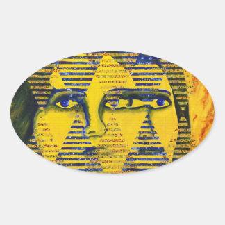 Conundrum II – Golden & Sapphire Goddess Oval Sticker