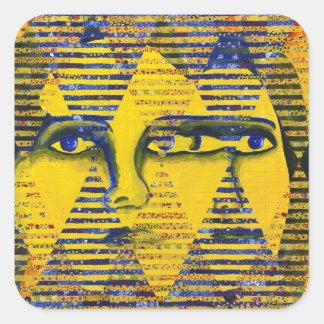 Conundrum II – Golden & Sapphire Goddess Square Stickers