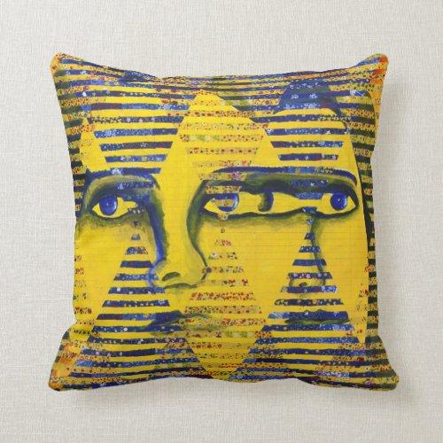 Conundrum II – Golden & Sapphire Goddess Throw Pillow