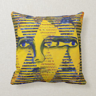 Conundrum II – Golden & Sapphire Goddess Throw Pillow