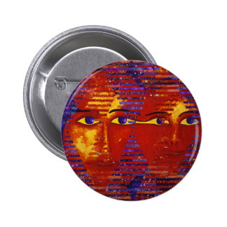 Conundrum III - Abstract Purple & Orange Goddess Button