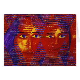 Conundrum III - Abstract Purple & Orange Goddess Greeting Card