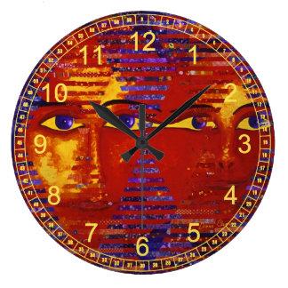 Conundrum III - Abstract Purple & Orange Goddess Wallclock