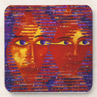 Conundrum III - Abstract Purple & Orange Goddess Coaster
