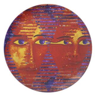 Conundrum III - Abstract Purple & Orange Goddess Dinner Plate