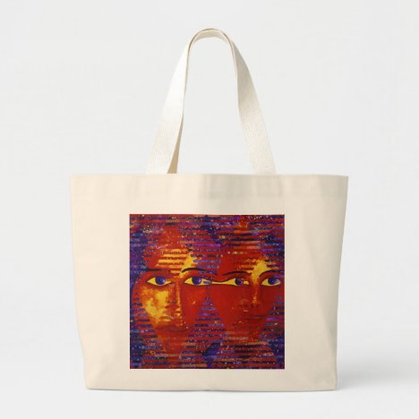 Conundrum III - Abstract Purple & Orange Goddess Large Tote Bag