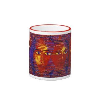Conundrum III - Abstract Purple & Orange Goddess Coffee Mugs