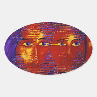 Conundrum III - Abstract Purple & Orange Goddess Oval Sticker