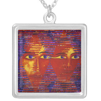 Conundrum III - Abstract Purple & Orange Goddess Silver Plated Necklace