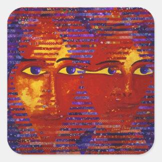 Conundrum III - Abstract Purple & Orange Goddess Square Sticker