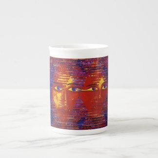 Conundrum III - Abstract Purple & Orange Goddess Tea Cup