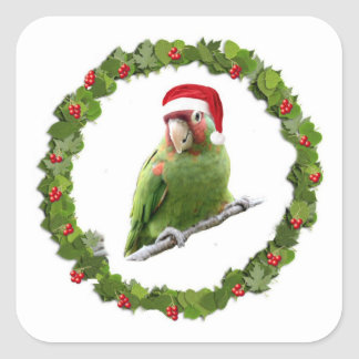 Conure Christmas Wreath Square Stickers