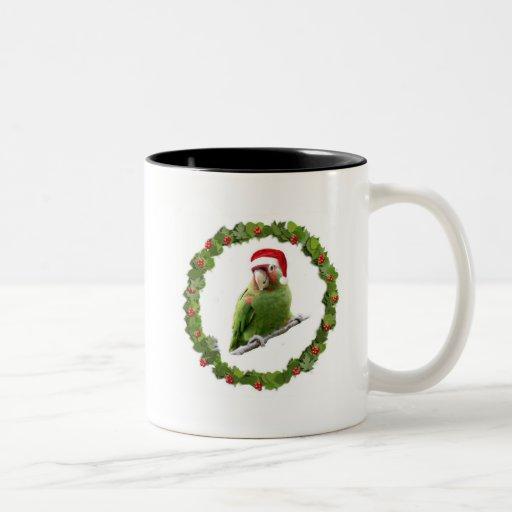 Conure Christmas Wreath Two-Tone Coffee Mug