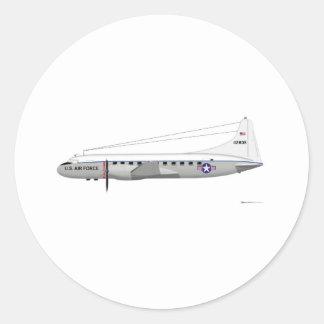 Convair C-131 Samaritan Classic Round Sticker