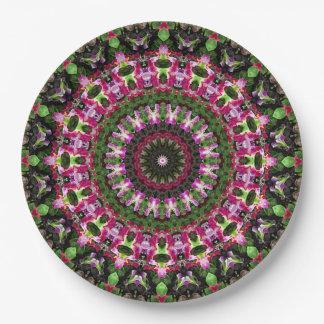Convenient Magenta & Green Mandala Art Paper Plate