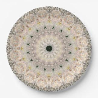 Convenient Pink Peony Floral Mandala Art Paper Plate