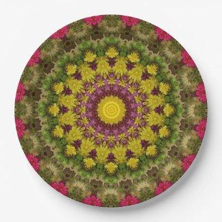 Convenient Purple, Yellow, & Green Mandala Art Paper Plate