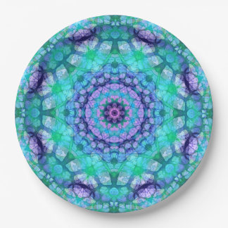Convenient Teal & Purple Mandala Art Paper Plate