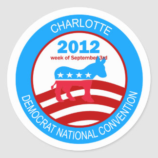 Convenio 2012 de Charlotte Demócrata Pegatina Redonda