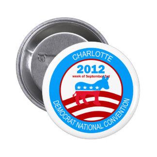 Convenio 2012 de Charlotte Demócrata Pin Redondo 5 Cm