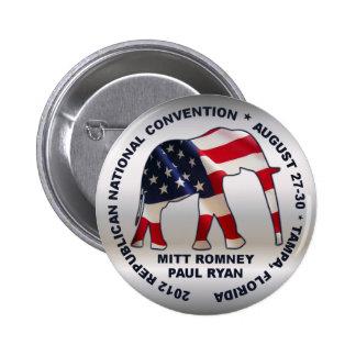 Convenio 2012 del GOP de Romney Ryan Pin Redondo De 2 Pulgadas
