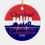 Convenio 2016 del republicano adorno navideño redondo de cerámica