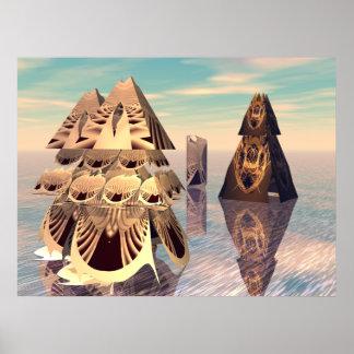 convenio de la pirámide del fractal 3D Posters