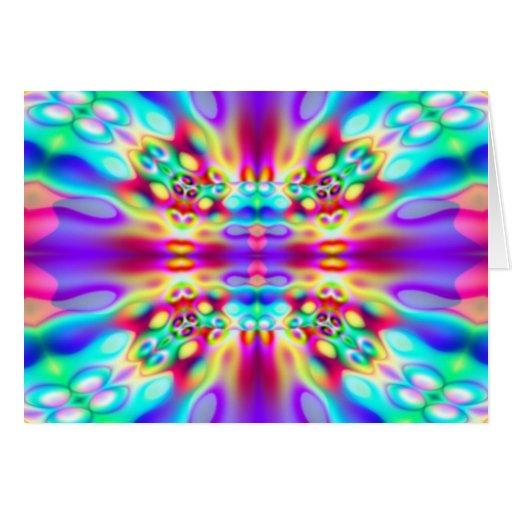 Convergencia abstracta viva del arco iris tarjeta de felicitación