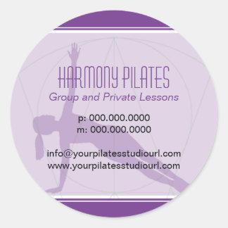 Convergent Lines Purple Pilates Classic Round Sticker