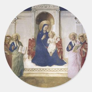 Conversación sagrada del Fra Angelico- Etiqueta Redonda
