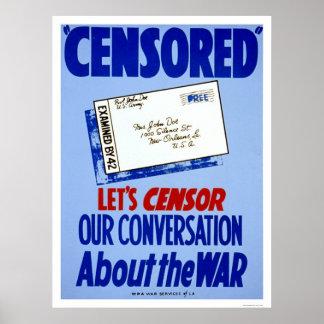 Conversación WWII del censor WPA 1941 Póster