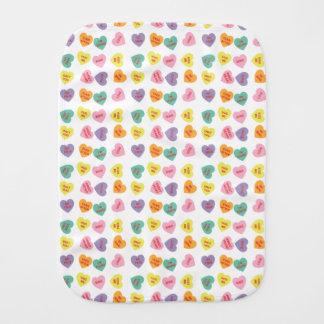 Conversation Candy Hearts Baby Burp Cloth