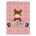 conversation candy hearts little girl greeting card